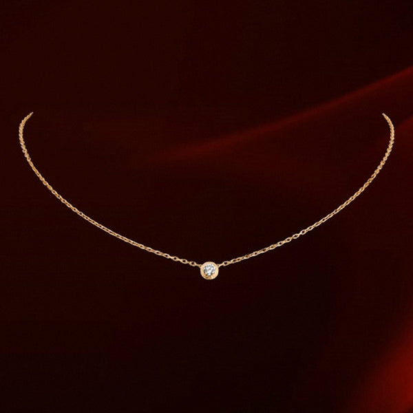 Round Crystal Gold Plated Necklace