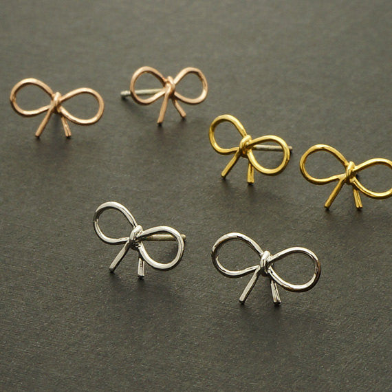 Gold Silver and Rose Gold Tiny Bow Stud Earring