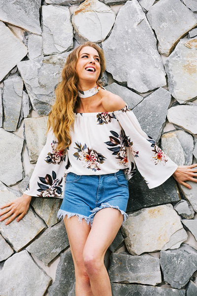 Floral Print Off Shoulder Chiffon Blouse