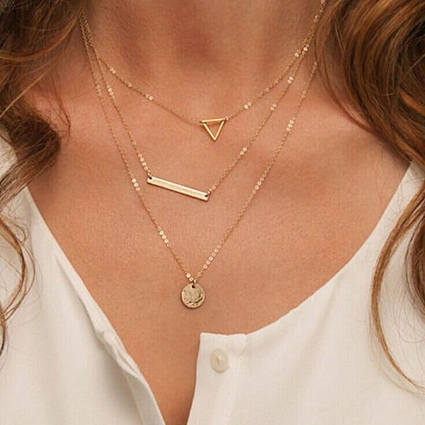 Triangle Round Fashion Multi Layer Chain Necklace