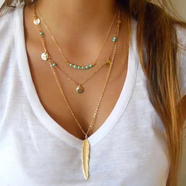 Turquoise Multi Layer Leaf Chain Bohemian Choker Necklace