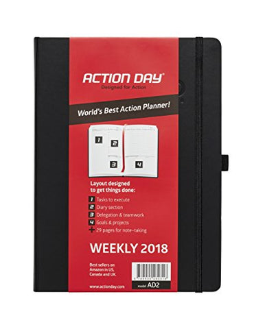 Action Day 2018 – World's Best Action Planner – Action Layout That Gets Things Done - Daily / Weekly / Monthly / Yearly Agenda, Organizer & Goal Journal (8x11 / Thread-Bound /Black)
