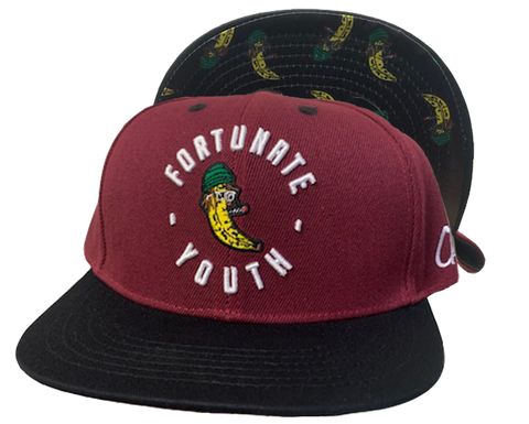 Maroon Banana Embroidered Snapback