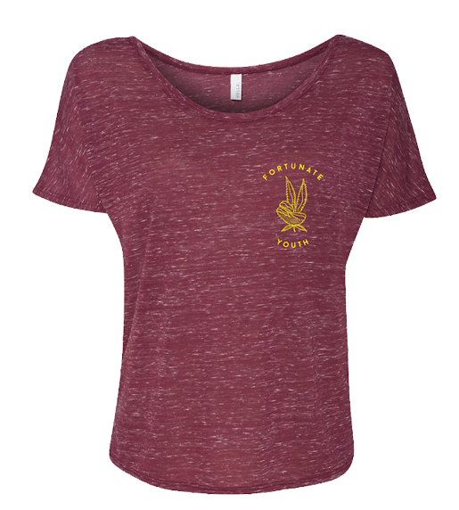 Women's Weed Peace Tee (Htr Burgundy)