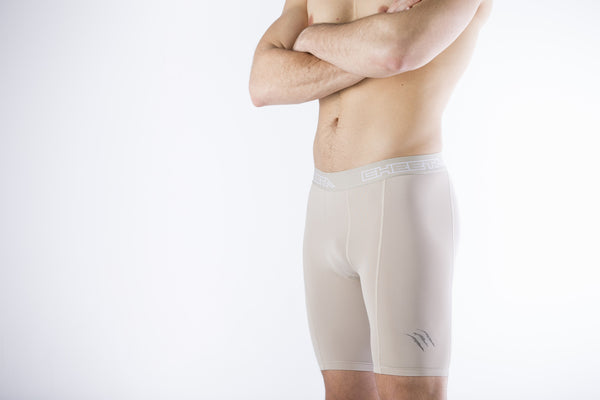 Men's Beige Compression Shorts 3 Strike