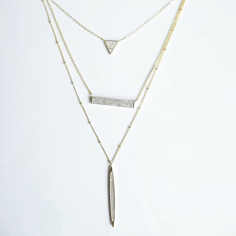 The Pave trio necklace