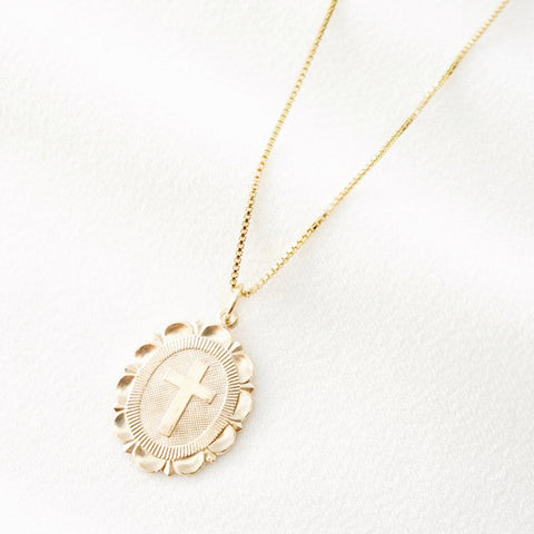 The Cross Scallop Medallion necklace 14k gold filled (pre order)
