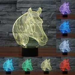 Acrylic 3D Color-Changing Horse Nightlight