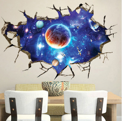 3D Galaxy Planet Wall Sticker