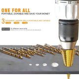 Premium Titanium Step Cone Drill Set, 3Pcs