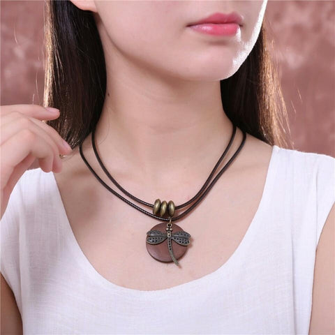 Vintage Dragonfly Wooden Pendant For Women