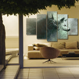 Yin Yang Wolves 5 Piece Canvas