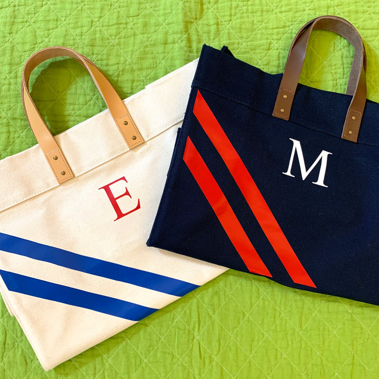 Stripe Monogram Leather Handle Canvas Advantage Tote