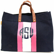 Monogram Stripe Canvas Leather Handle Advantage Tote