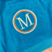 Embroidered Monogram Velour Beach Towel