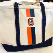 Monogram Stripe Medium Canvas Boat Tote