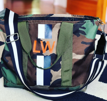 Stripe Monogram Camo Tote Bag