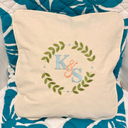 Embroidered Monogram Wedding Gift Canvas Pillow