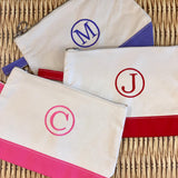Embroidered Monogram Canvas Makeup Bag Purple Red Pink
