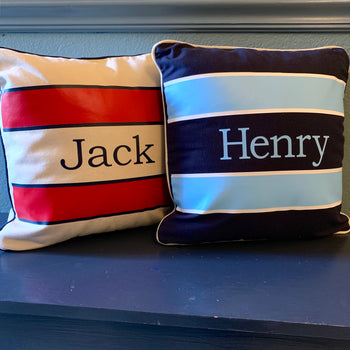Vinyl Stripe Monogram Canvas Pillow
