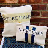 College Stripe Canvas Pillow Vinyl Cosmetic Case