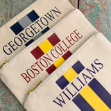 College Stripe Canvas Zip Top Cosmetic