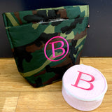 Embroidered Monogram Camo Small Cooler Tote and Seersucker Jewel Round