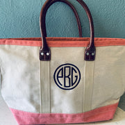 Embroidered Monogram Medium Denim Boat Tote Pink