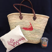 Embroidered Monogram Initial Straw Market Basket Nantucket Island