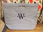 Embroidered Monogram Seersucker Stripe Large Cooler Tote