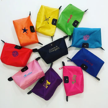 Embroidered Monogram Essentials Pouch