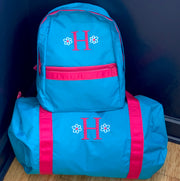 Embroidered Monogram Kids Duffel Bag Backpack Set