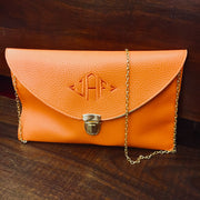 Embroidered Monogram Leather Clutch Orange