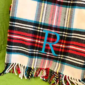 Embroidered Monogram Perfect Blanket White Tartan Plaid