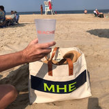 Monogram Stripe Canvas Leather Handle Advantage Tote Beachie Cup