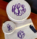Embroidered Monogram Small Jewel Round Home Travel