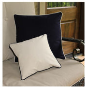 Small Canvas Pillow Ivory and Large navy
