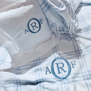 Embroidered Monogram Linen Square Pillow and Baby Flannel Blanket