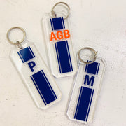 Vinyl Stripe Monogram Initials Keychain Key ring