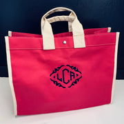 Embroidered Monogram Utility Canvas Field Bag