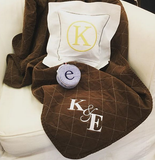 Embroidered Monogram Utility Canvas Quited throw blanket Linen Square Pillow Small Jewel round