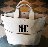 Embroidered Monogram Utility Canvas Bucket Pocket Tote