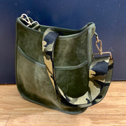 Velvet Messenger Bag with Crossbody Strap
