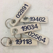 custom webbing keyring embroidered