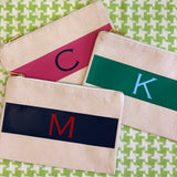 Stripe Monogram Initial Canvas Zip Top Cosmetic