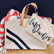 Stripe Monogram Leather Handle Canvas Advantage Tote Ivory