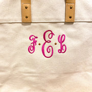 Embroidered Monogram Leather Handle Advantage Tote