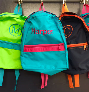 Embroidered Monogram Kids Small Nylon Backpack