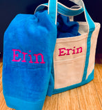 Embroidered Monogram Medium Canvas Boat Tote Beach Towel