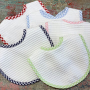 Embroidered Terry Pique Bib with Pink Border